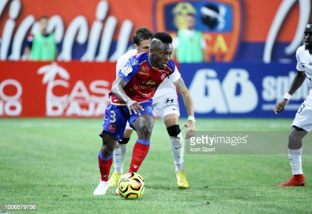 Fode Camara of Gazelec during the Ligue 2 match between Gazelec Ajaccio and Paris FC at Stade Ange Casanova on July 27 2018 in Ajaccio France