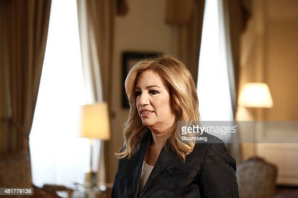 Fofi Gennimata leader of the PASOK party arrives at the presidential palace to attend a meeting with the Greek president and leaders of Greek...