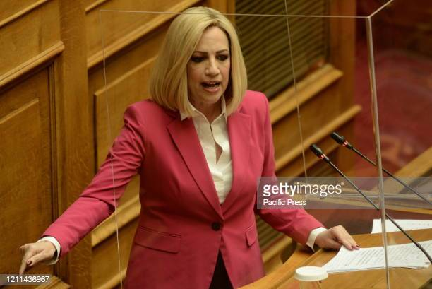 Fofi Gennimata, President of KINAL, during her speech in Hellenic Parliament. A discussion of political leaders took place today in Hellenic...