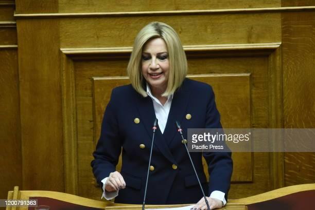 Fofi Gennimata, President of KINAL, during her speech in Hellenic Parliament.