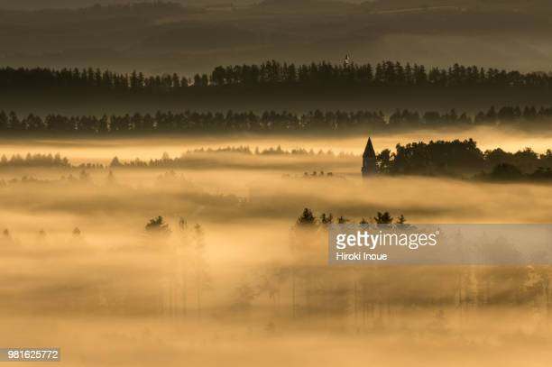 fog above land at dawn, biei, hokkaido, japan - inoue stock photos and pictures