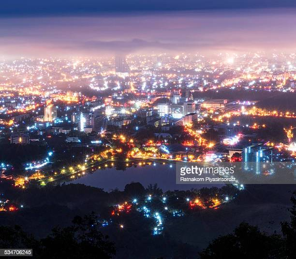 fog and cloud over hatyai city - hat yai foto e immagini stock