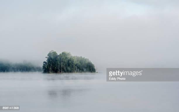 fog at the lake with trees in the background in cecebre galicia spain - galicia fotografías e imágenes de stock