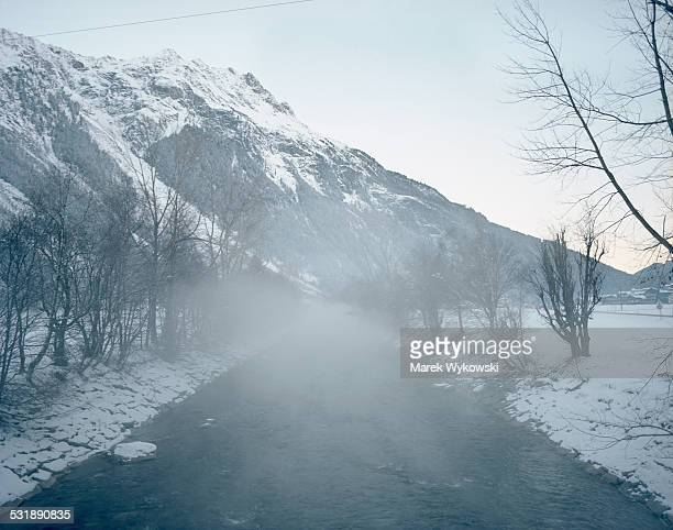 fog covered river - laengenfeld stock pictures, royalty-free photos & images