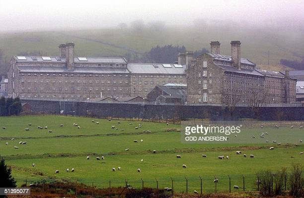 Fog hangs over Dartmoor prison and the sheep grazing on the prison farm in the village of Princetown in Devon county some 430 km southwest of London...