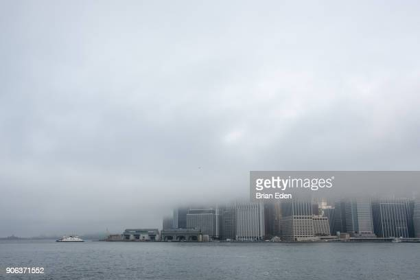 Fog hangs over the New York skyline