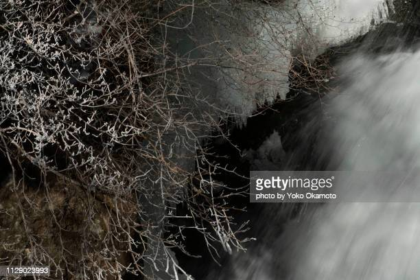 fog ice and waterfall flow - 一月 stock pictures, royalty-free photos & images