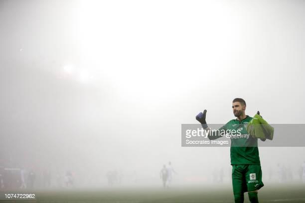 Fog in Butarque Municipal Stadium Ivan Cuellar of Leganes during the La Liga Santander match between Leganes v Sevilla at the Estadio Municipal de...