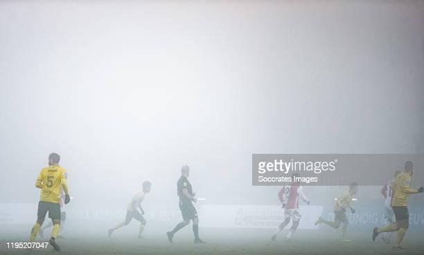 Fog in stadium of Fortuna Sittard during the Dutch KNVB Beker match between Fortuna Sittard v Feyenoord at the Fortuna Sittard Stadium on January 21,...