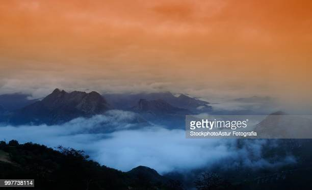Fog in the mountains at dawn.