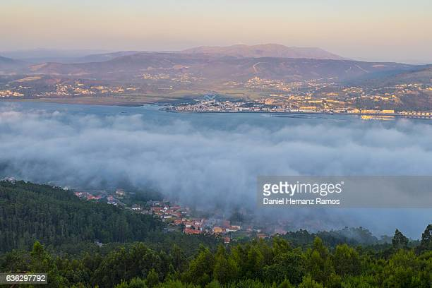 Fog in the Mouth of the Minho river, Portugal, aerial view