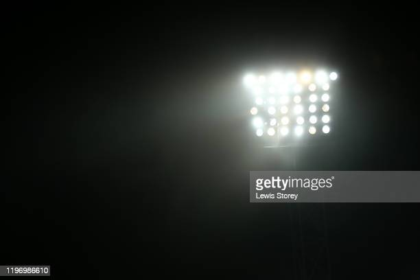 Fog is seen around the floodlight during the Sky Bet Championship match between West Bromwich Albion and Leeds United at The Hawthorns on January 01,...