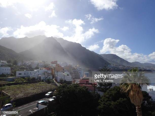 Fog leaving Punta del Hidalgo town