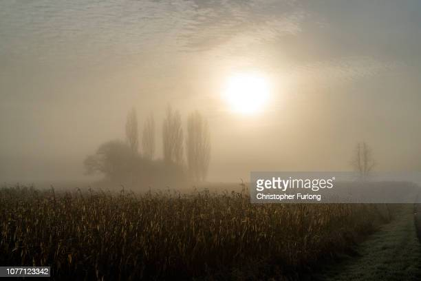 Fog lingers over the Cheshire countryside as freezing temperatures have create a cold and foggy start for parts of England and Wales on December 04,...
