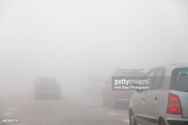 Fog on Delhi-Agra Yamuna expressway, India
