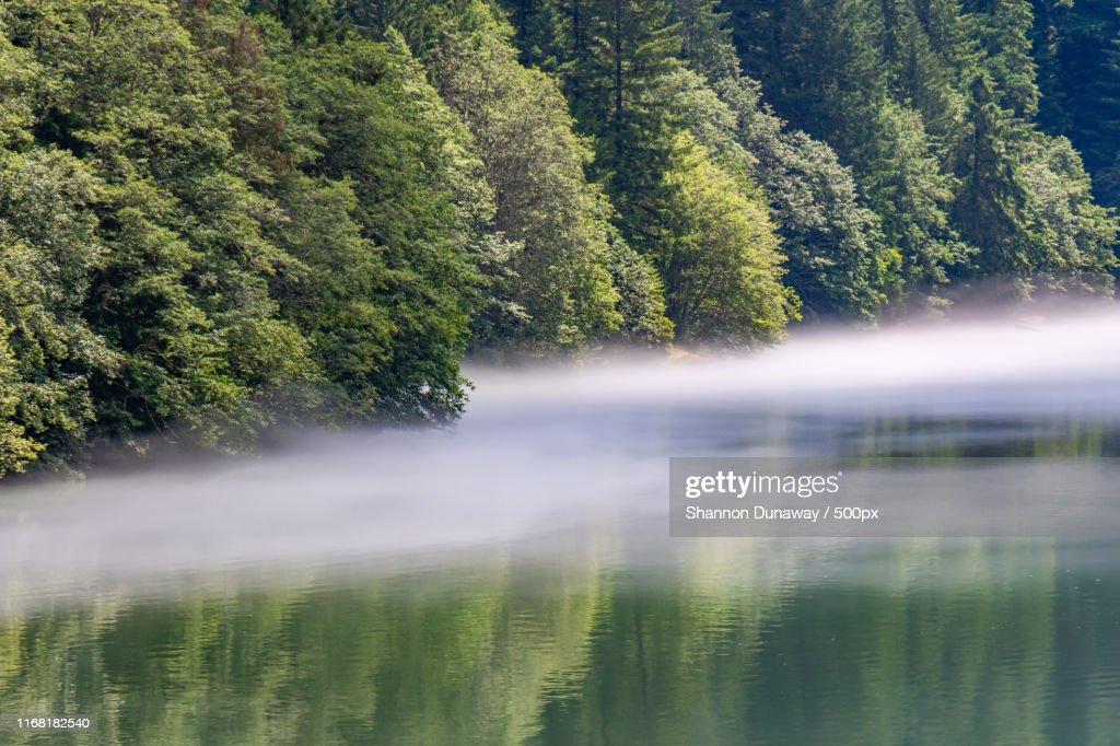 Fog On Diablo Lake : Stock Photo