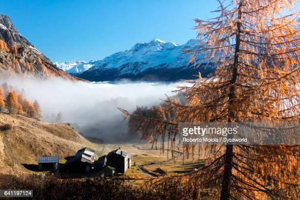 Fog on the mountain hut Buaira Switzerland