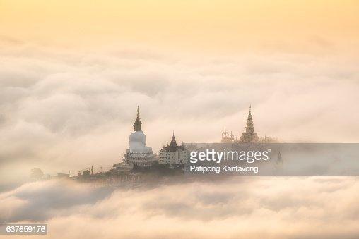 Fog over  Big Buddha statue.