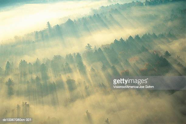 USA, fog over Green Mountains of Vermont