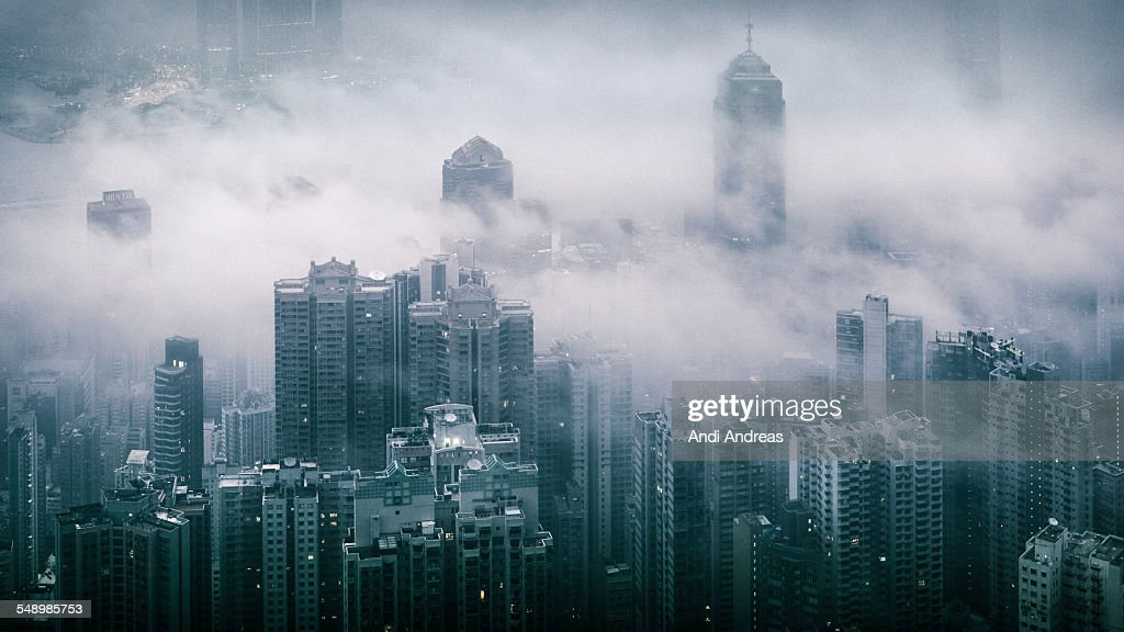 Fog over Hong Kong : Stock Photo