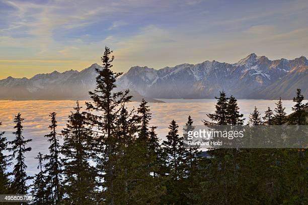 Fog over the Inn Valley, Karwendel Mountains at the back, at sunset, from Loassattel, Schwaz, Tyrol, Austria