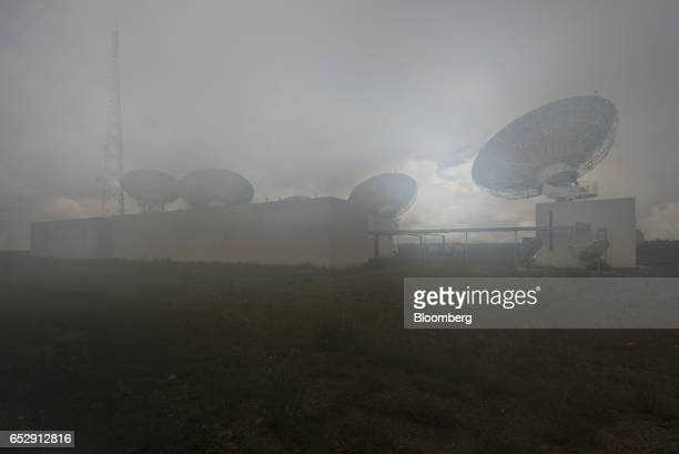 Fog passes in front of the Bolivian Space Agency Amachuma Ground Station in Achocalla La Paz Department Bolivia on Wednesday March 1 2017 Created in...