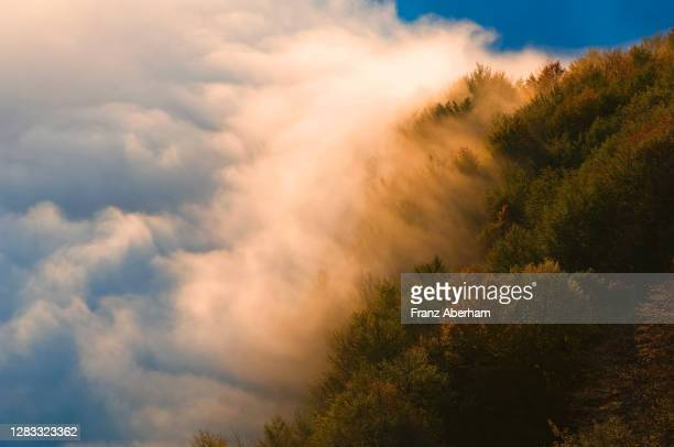 fog rises out of the valley in autumn, gran sasso region, italy - グランサッソアンドラガ国立公園 ストックフォトと画像