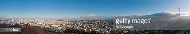 Fog rolling in Sutro San Francisco Castro Mission downtown panorama