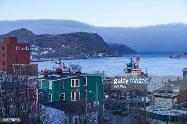 Fog rolling in to St John's Harbour Newfoundland Canada