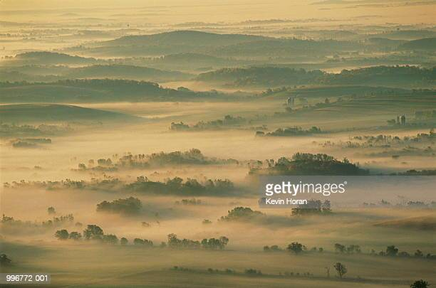 fog-covered farmland, wisconsin, usa, elevated - iron_county,_wisconsin stock pictures, royalty-free photos & images