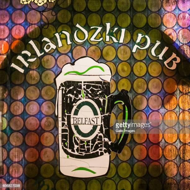 Fogged glass in the Irish Pub Miodowa seen during Saint Patricks Day celebration on March 17, 2017 in Warsaw, Poland. Saint Patricks Day is a...