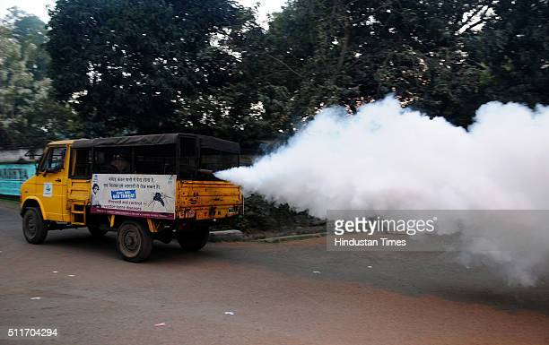 Fogging Machine at work to stop mosquito borne diseases at JUSCO township on February 12 2015 in Jamshedpur India