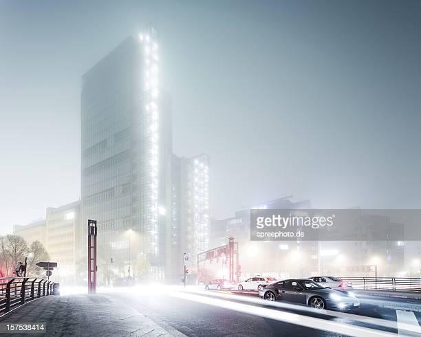 Foggy Berlin Cityscape at Night