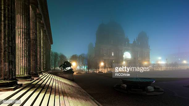 foggy berlin with berlin cathedral