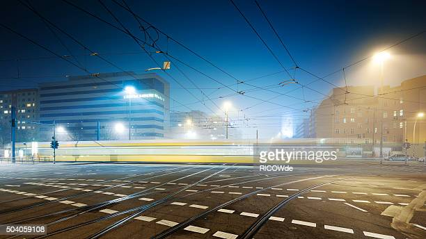 foggy berlin with traffic on the streets