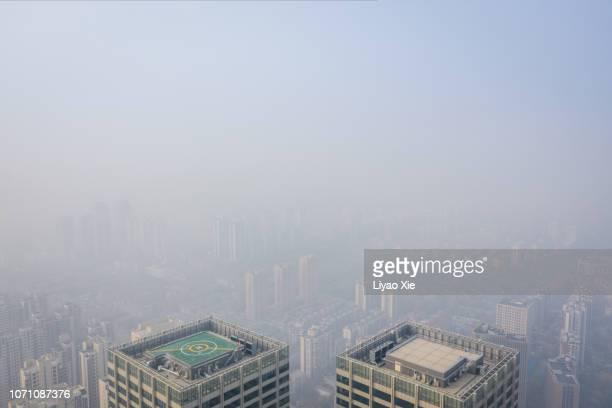 Foggy city aerial view