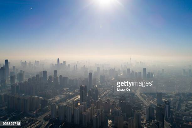 foggy city - liyao xie stock pictures, royalty-free photos & images