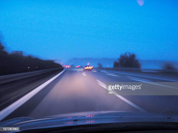 Foggy dangereous driving on the german autobahn