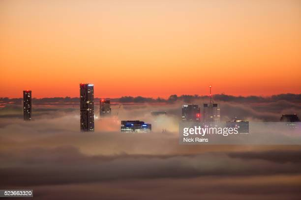 A foggy dawn over Brisbane city