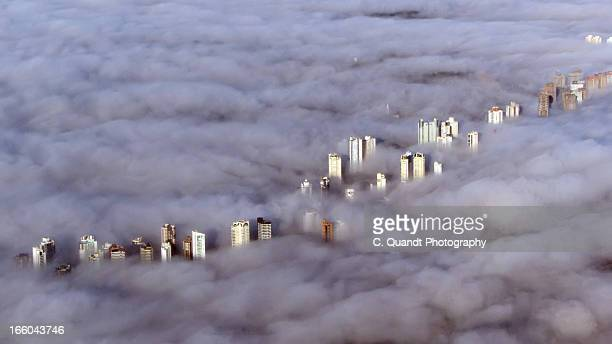 Foggy day from above