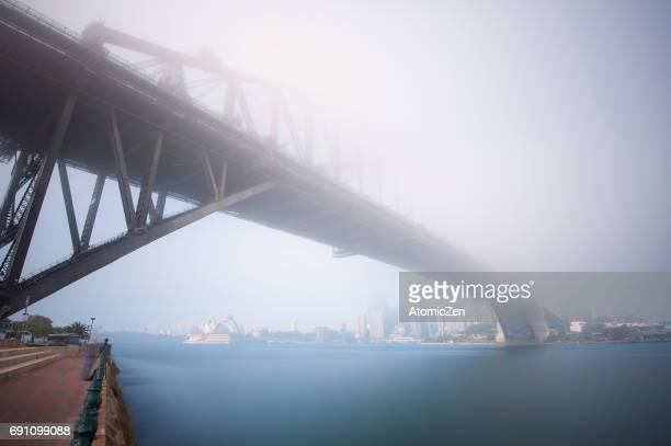 Foggy day of Sydney Harbour Bridge and Opera House, Sydney