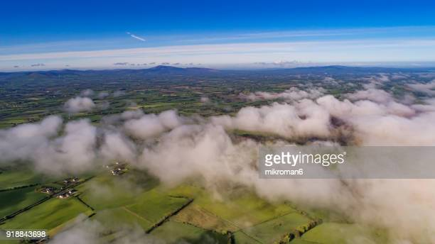 Foggy day over Tipperary mountains and fields, Ireland.