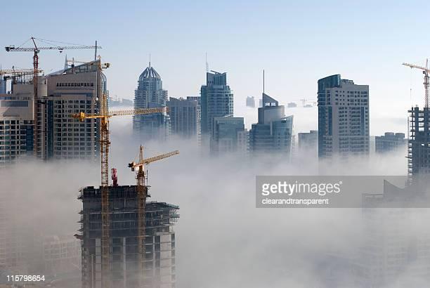 Foggy Dubai marina in the United stab Emirates