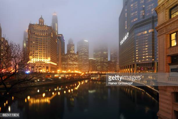 Foggy evening in Downtown Chicago