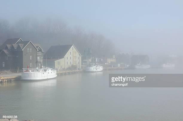Foggy fishing village on Lake Erie