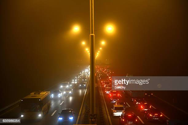 foggy highway - belgrade serbia stock pictures, royalty-free photos & images