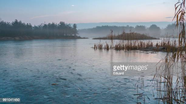 foggy lake at dusk - belarus stock pictures, royalty-free photos & images