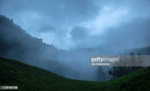 Foggy landscape in autum on October 01, 2020 in St. Peter, Italien.