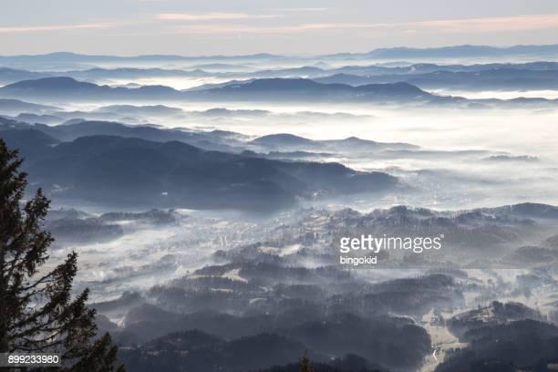 foggy landscape - kranj stock pictures, royalty-free photos & images
