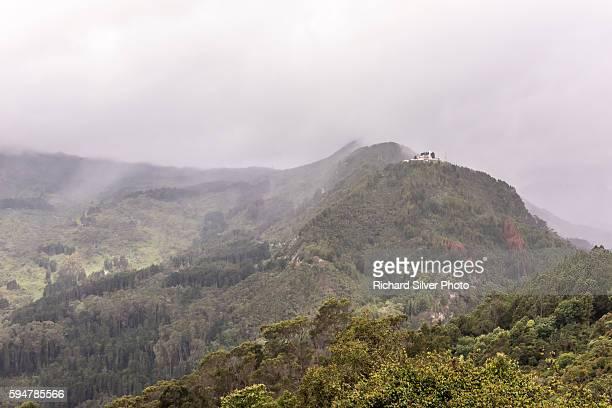 Foggy Monserrate mountain in Bogota, Colombia